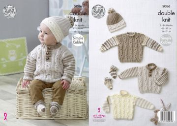 King Cole Knitting Pattern - Simple Cables Sweaters, Hats and Socks, 5086, 16-22 in